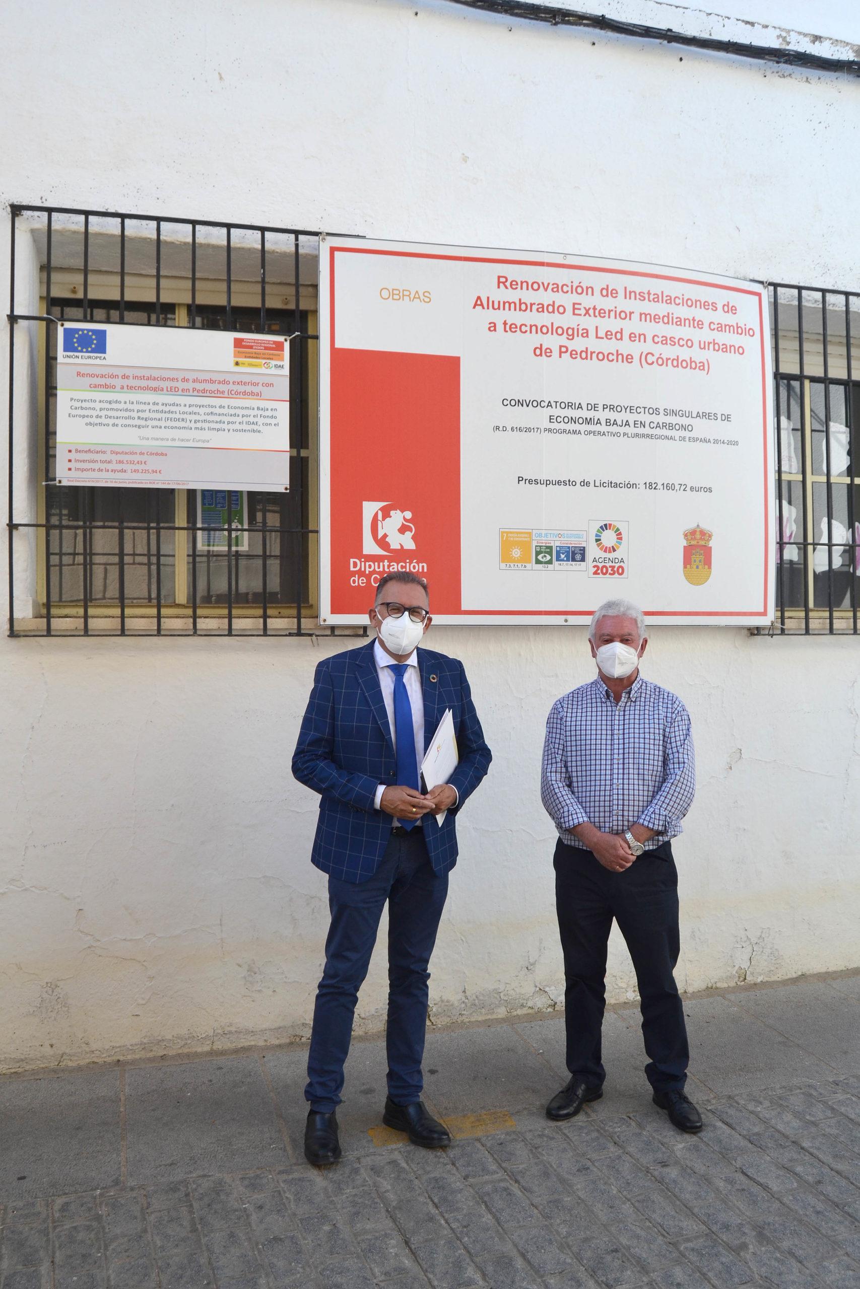Se instalan en Pedroche 279 farolas de led gracias al fondo Feder y la Diputación