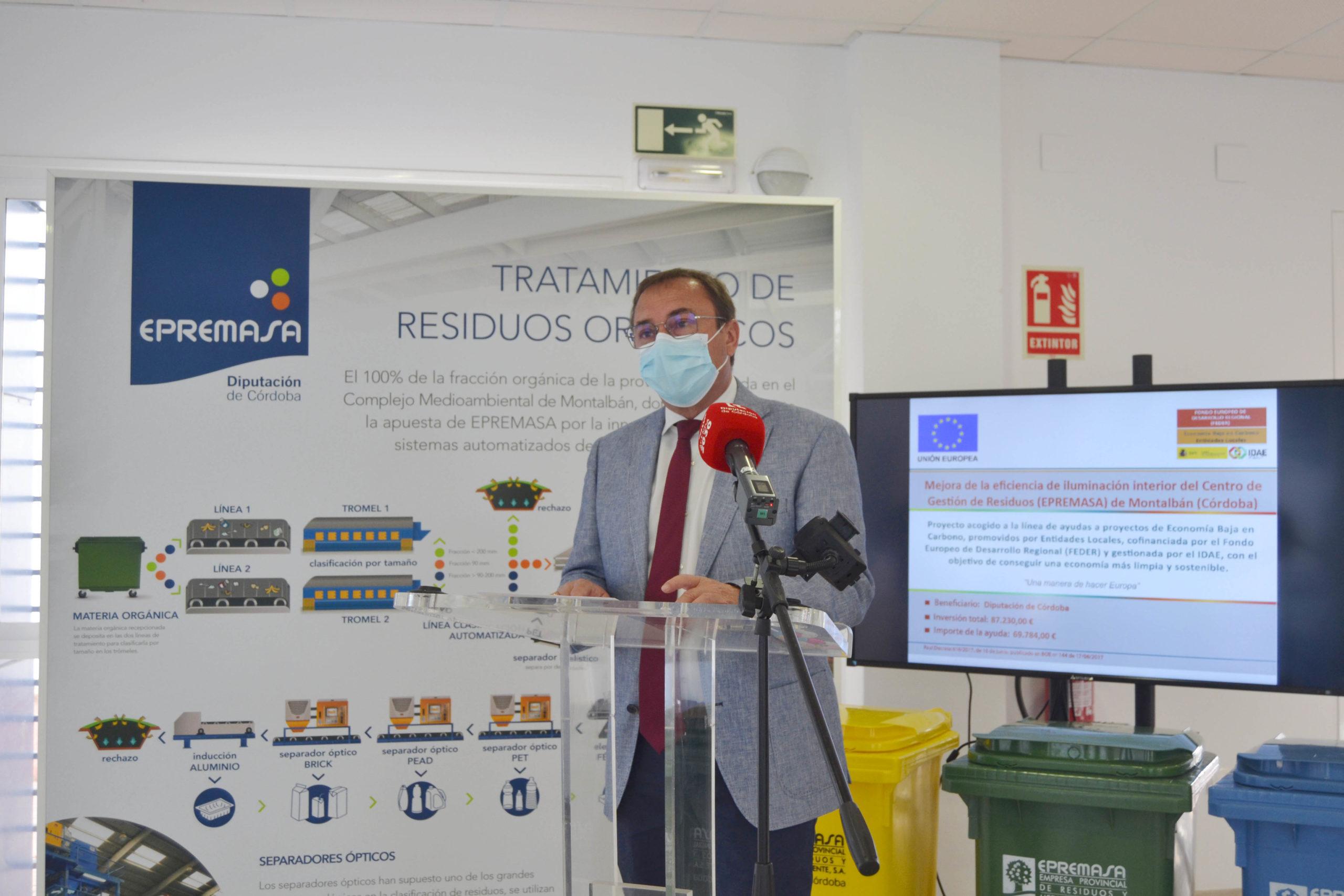 El Centro Medioambiental de Residuos de Montalbán renovará su iluminación interior gracias al proyecto Economía Baja en Carbono